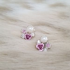 Delicate Rose and Pearl Gemstone Button Earrings